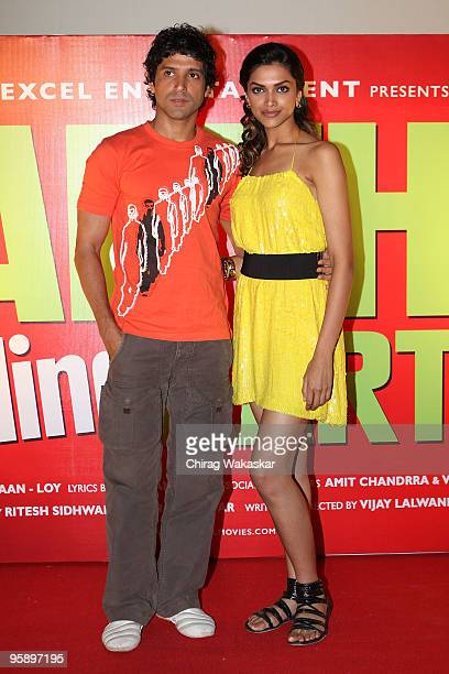 Indian actor Farhan Akhtar and actress Deepika Padukone attend the launch of the Soundtrack for 'Karthik Calling Karthink' held at Cinemax on January...