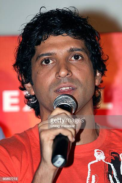 Indian actor Farhan Akhtar attends the launch of the Soundtrack for 'Karthik Calling Karthink' held at Cinemax on January 20 2010 in Mumbai India