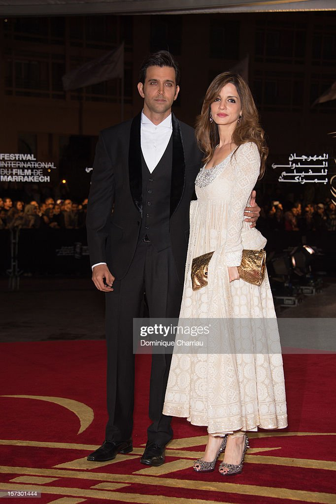 Indian actor Hrithik Roshan and Indian actress Tabu arrive for the tribute to Hindi cinema at the 12th Marrakech International Film Festival Marrakech International 12th Film Festival on December 1, 2012 in Marrakech, Morocco.