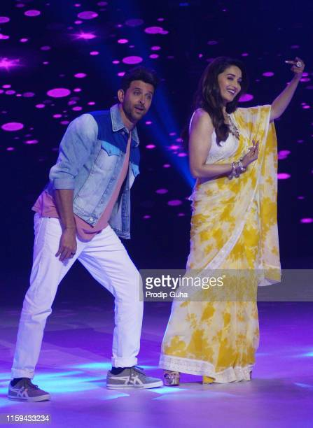 Indian actor Hrithik Roshan and Madhuri Dixit during the reality TV show Dance Dewane on July 1 2019 in Mumbai India