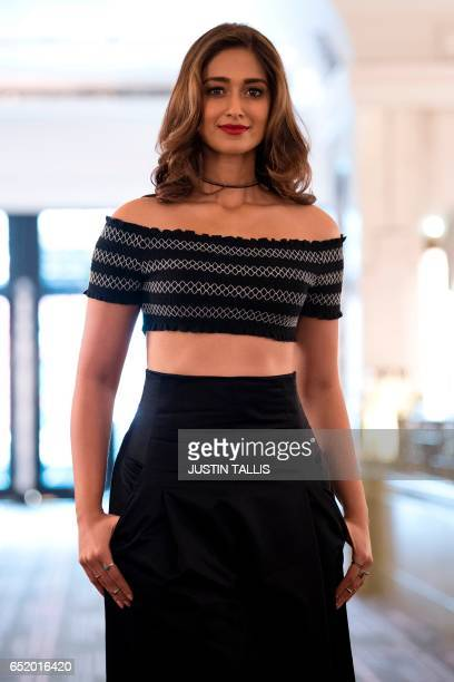 Indian actor Ileana D'Cruz poses during a photocall to promote the upcoming Bollywood comedy Mubarakan which is currently shooting in the UK in...