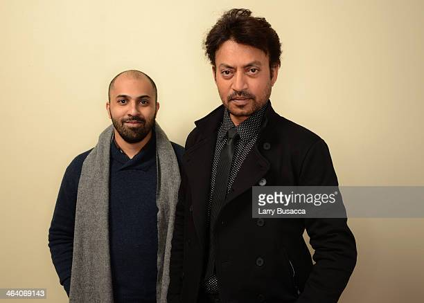 Indian actor Irrfan Khan poses for a portrait with filmmaker Ritesh Batra during the 2014 Sundance Film Festival at the Getty Images Portrait Studio...