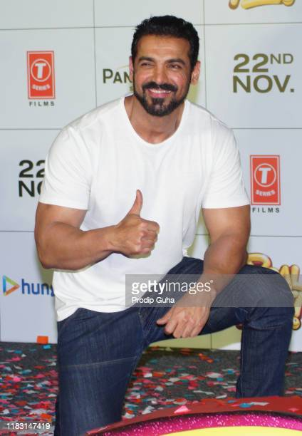 Indian actor John Abraham attends the premiere of the film Pagalpanti on October 24 2019 in Mumbai India