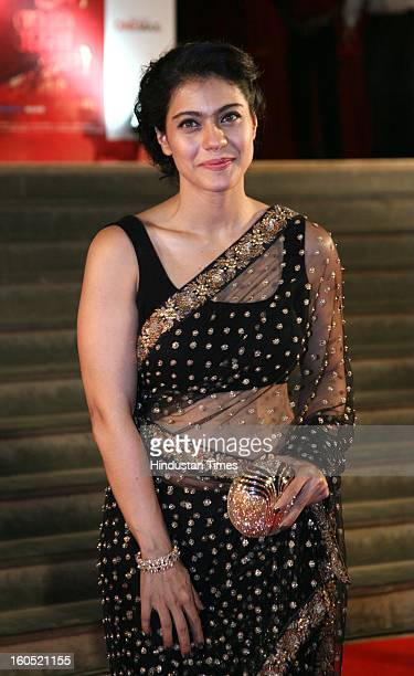 Indian actor Kajol Devgn during premier of Bollywood movie Mai at Cinemax on January 31 2013 in Mumbai India