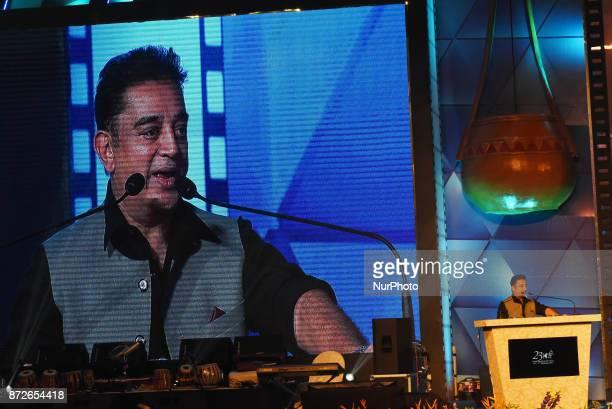Indian actor Kamal Hasan addressing at the inauguration of the 23rd Kolkata International Film Festival in Kolkata India