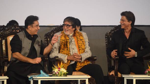 Indian Actor Kamal Hasan Amitabh Bachchan and Shah Rukh Khan sharing moments during the inauguration ceremony of 23rd Kolkata International Film...