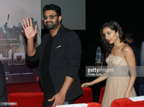 Indian actor Prabhas and Shraddha Kapoor attends the launch of the film 'Saaho on August 10 2019 in Mumbai India