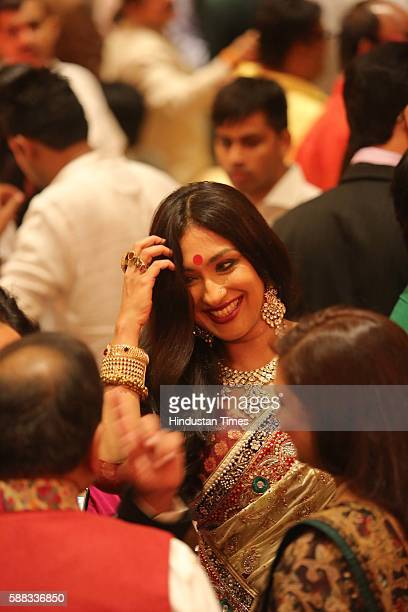 Indian actor Rituparna Sengupta during the wedding ceremony of Union Minister and singer Babul Supriyo and Delhibased air hostess Rachna Sharma at...