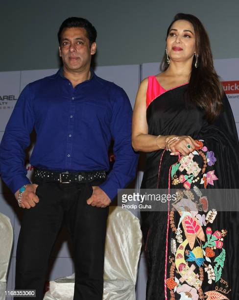 indian actor Salman Khan and Madhuri Dixit attends the speacial screening of 25th year of film Hum Aapke hain koun' on August 92019 in Mumbai India