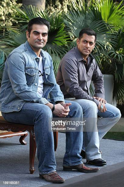Indian actor Salman Khan and producer Arbaaz Khan pose for profile shoot during promotion of their upcoming film Dabangg 2 on December 18 2012 in New...