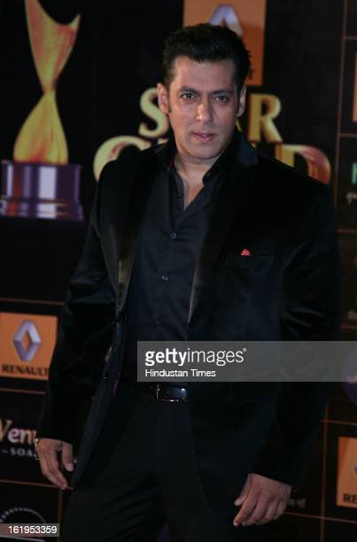 Indian actor Salman Khan during Star Guild awards at Yash raj Studio Andheri on February 16 2013 in Mumbai India