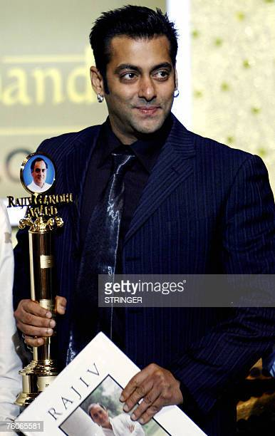 Indian actor Salman Khan looks on at the 10th Rajiv Gandhi Award's in Mumbai 12 August 2007 The Rajiv Gandhi Award is given anually to socially...