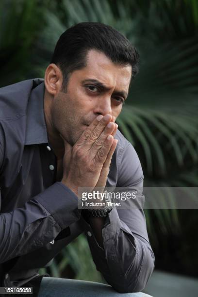 Indian actor Salman Khan pose for profile shoot during promotion of his upcoming film Dabangg 2 on December 18 2012 in New Delhi India