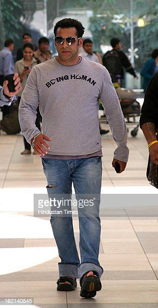Indian actor Salman Khan spotted at Mumbai Airport on February 18 2013 in Mumbai India