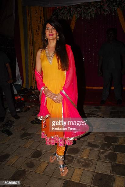 Indian actor Sangeeta Bijlani during Ganpati immersion ceremony at Salman Khan's sister Alvira's residence Bandra on September 10 2013 in Mumbai India