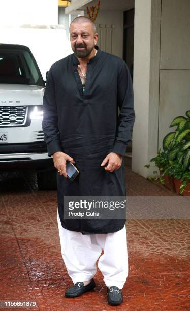 Indian actor Sanjay Dutt attends a meeting with Producer Anand Pandit and Sandeep singh at Anand Pandit House on June13 2019 in Mumbai India