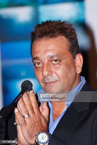 Indian actor Sanjay Dutt attends the press conference for Bollywood movie 'Blue' held at Hotel Renaissance on March 6 2009 in Bombay India