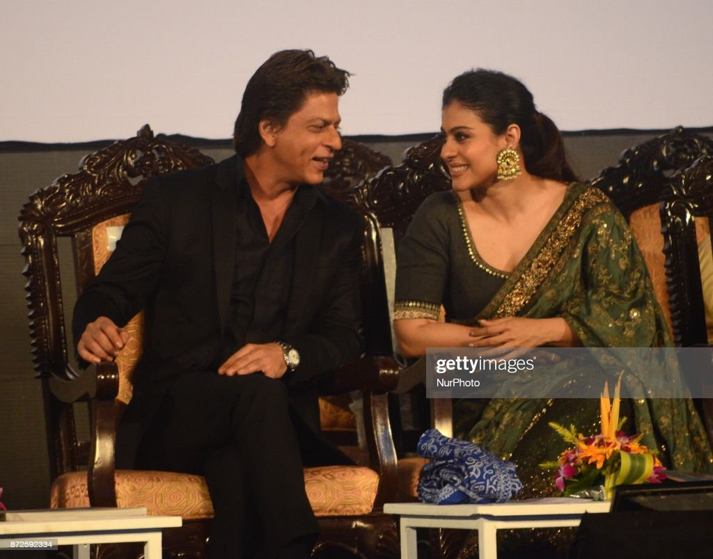 Indian Actor Shah Rukh Khan and Kajol sharing moments during the inauguration ceremony of 23rd Kolkata International Film Festival in Kolkata India...