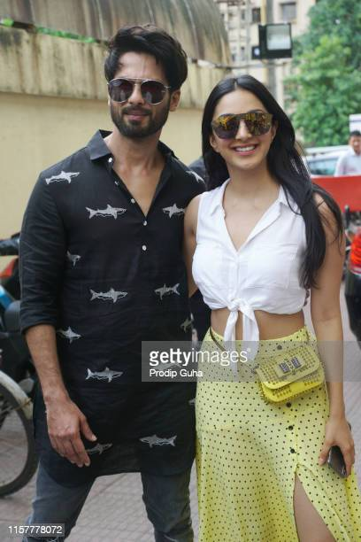 Indian actor Shahid Kapoor and Kiara Advani attend a meet with public in PVR theater for movie Kabir Singh on June 23 2019 in Mumbai India