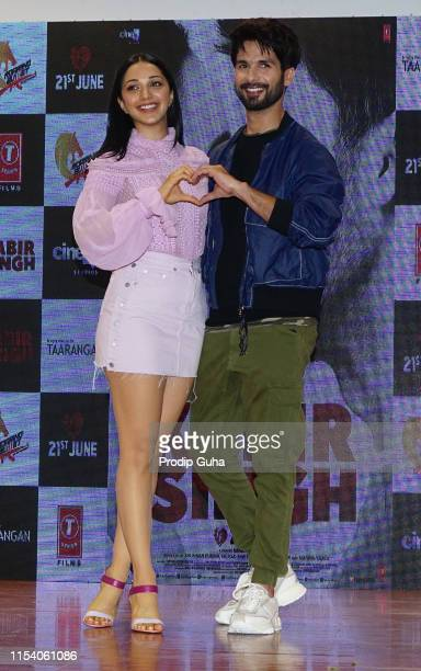 Indian actor Shahid Kapoor and Kiara Advani attends the Song launch of film Kabir Singh on June 6 2019 in Mumbai India