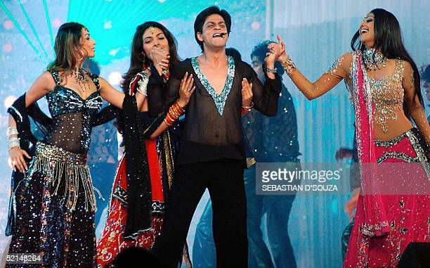 Indian actor Shahrukh Khan along with actresses Malaika Arora Khan Priyanka Chopra and Shilpa Shetty perform a dance routine during the 'Help...
