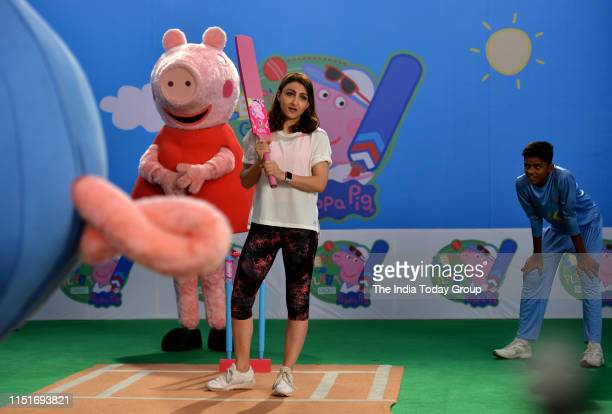 Indian Actor Soha Ali Khan clicked shooting fun cricket videos with fictional characters Peppa Pig and George in Mumbai