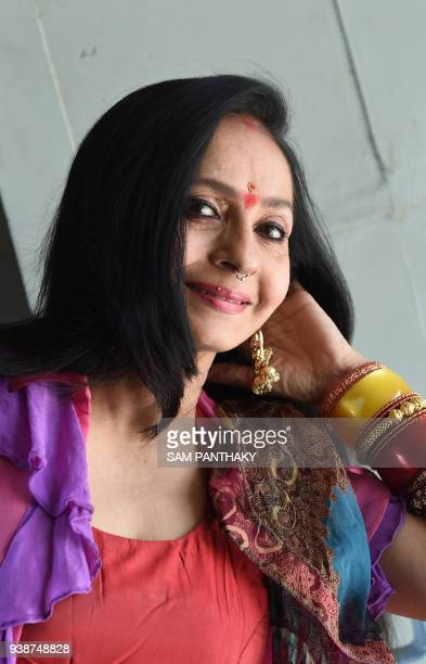 Indian actor Sujata Mehta poses for a photograph during the launch of Gujarati film 'Chitkar' on World Theatre Day in Ahmedabad on March 27 2018...