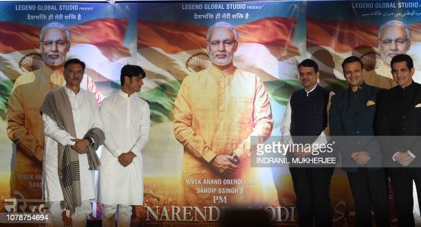 Indian actor Suresh Oberoi producer Sandip S Singh Maharashtra Chief Minister Devendra Fadnavis actor Vivek Oberoi and director Umang Kumar pose with...