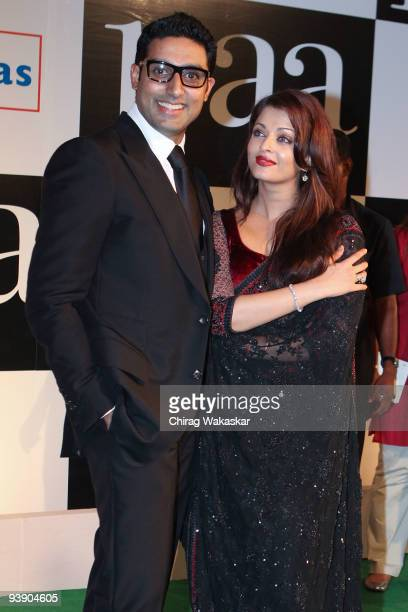 Indian actors Abhishek Bachchan and Aishwarya Rai attend the Premiere of Paa held at Big Cinemas on December 3 2009 in Mumbai India
