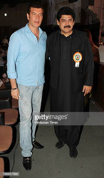 Indian actors Aditya Pancholi with Pankaj Dheer at Baisakhi Celebration cohosted by G S Bawa and Punjab Association Of India on April 13 2013 in...