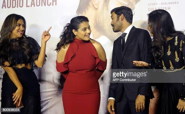 Indian actors Amala Paul Kajol Devgn Dhanush and director Soundarya Rajnikanth attend the trailer and music launch of the upcoming film VIP 2' in...