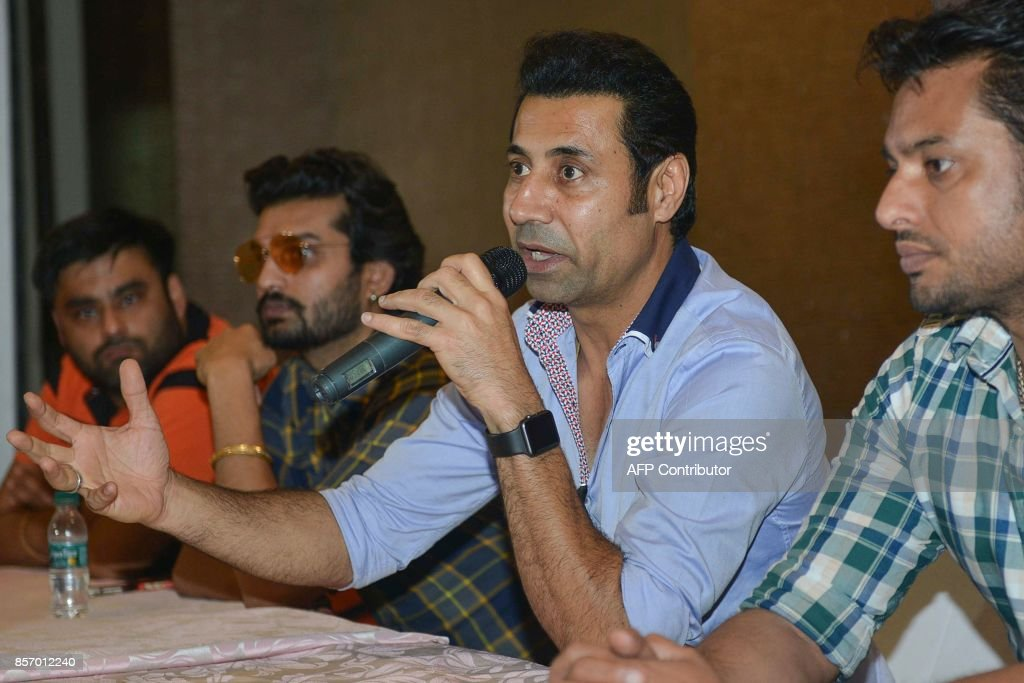 Indian actors Binnu Dhillon Dev Kharoud and Yuvraj Hans attends a press conference for the upcoming Punjabi film `Bailaras` at an hotel in Amritsar...