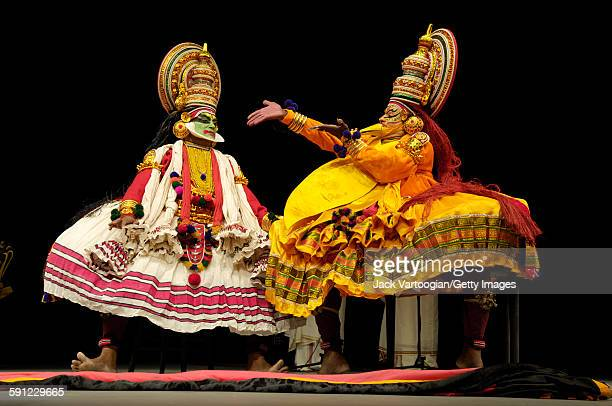 Indian actors Chandrasekhara Warrier and Sadanam Krishnan Kutty as 'Hamsa the Golden Swan' in the Kathakali dancedrama 'Nala Charitham' presented in...