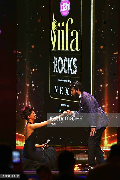 Indian actors Deepika Padukone and Fawad Khan attend the IIFA Rocks awards 2016 at IFEMA on June 24 2016 in Madrid Spain