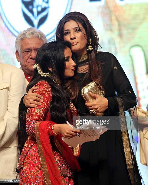 Indian actors Divya Dutta and Raveena Tandon at Baisakhi Celebration cohosted by G S Bawa and Punjab Association Of India on April 13 2013 in Mumbai...