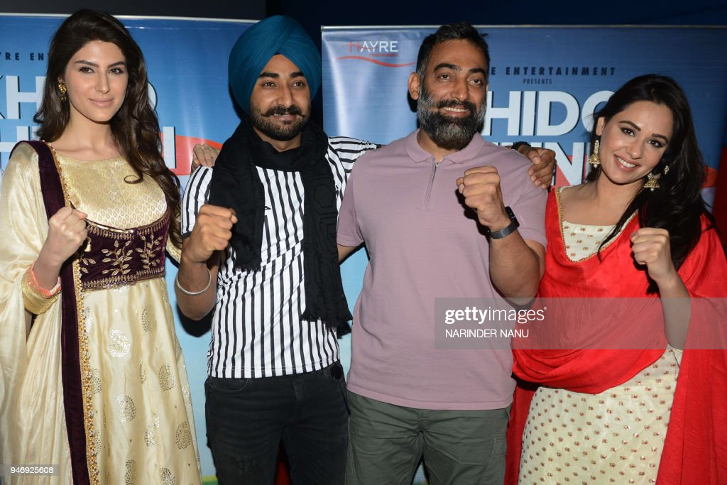 Indian actors Elnaaz Norouzi Ranjit Bawa Manav Vij and Mandy Takhar pose for a picture during a promotional event for the upcoming Punjabi film...