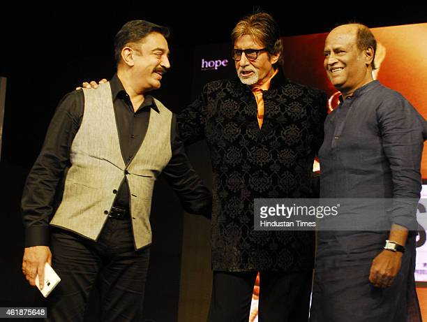 Indian actors Kamal Haasan Amitabh Bachchan and Rajnikanth during the trailer launch of upcoming film Shamitabh and celebration of 1000th film of...