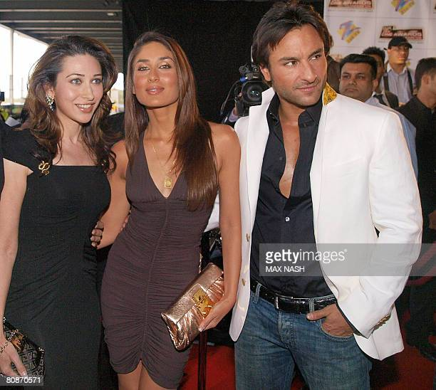 Indian actors Kareena Kapoor Karishma Kapoor and Saif Ali Khan arrive for the Zee Cine film awards 2008 at the ExCel center in London on April 26...
