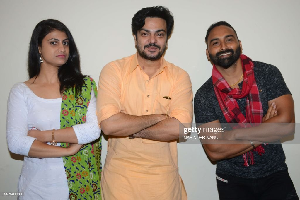 Indian actors Lakha Lakhwinder Singh Babbar Gill and actress Pooja Thakur pose during a promotional event for the upcoming Punjabi film `Dhol Ratti`..