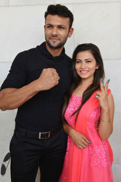 Indian actors Prince Singh and Mahak Sharma pose for a photograph during a promotional event for the upcoming Punjabi film `Yarran de Yaar` in...