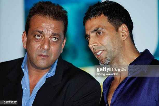 Indian actors Sanjay Dutt and Akshay Kumar attend the press conference for Bollywood movie 'Blue' held at Hotel Renaissance on March 6 2009 in Bombay...