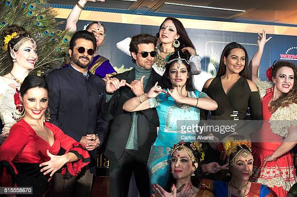Indian actors Sonakshi Sinha Anil Kapoor and Hrithik Roshan attend the 17th International Indian Film Academy awards press conference at the Retiro...