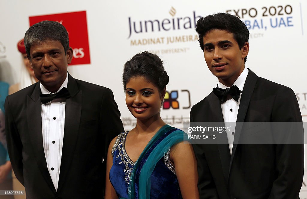 Indian actors Suraj Sharma (R), Shravanthi Sainath (C) and Adil Hussain (L) attend the opening ceremony of the Dubai International Film Festival in Gulf emirate of Dubai on December 9, 2012.