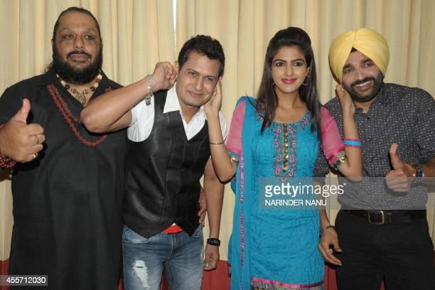 Indian actors Surmeet Rammi Mittal actress Diljott and Producer Ramandeep pose for a photograph pose for a photograph during a promotional event for...