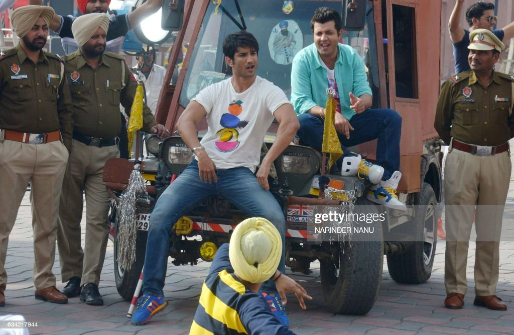 Indian actors Sushant Singh Rajput Varun Sharma perform a dance routine during filming on the set of the forthcoming Bollywood film ` Raabta `...