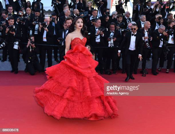 Indian actress Aishwarya Rai arrives for the film '120 Battements par Minute' in competition at the 70th annual Cannes Film Festival in Cannes France...