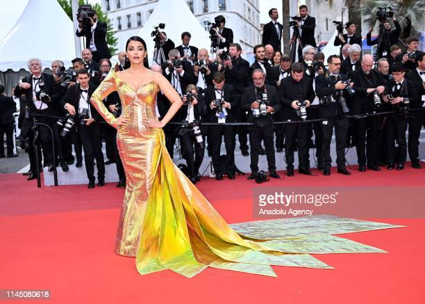 Indian actress Aishwarya Rai arrives for the screening of the film 'A Hidden Life' at the 72nd annual Cannes Film Festival in Cannes France on May 19...