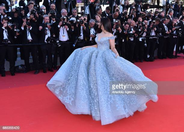 Indian actress Aishwarya Rai arrives for the screening of the film 'Okja' in competition at the 70th annual Cannes Film Festival in Cannes France on...