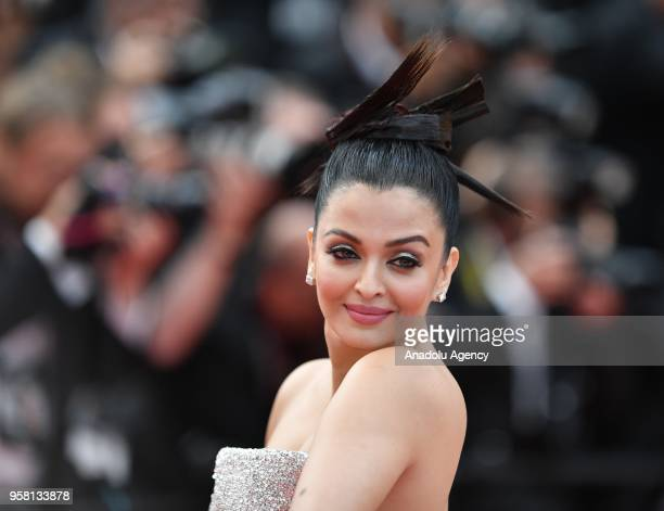 Indian actress Aishwarya Rai arrives for the screening of the film 'Sink Or Swim ' at the 71st Cannes Film Festival France on May 13 2018