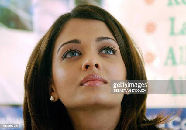 Indian actress Aishwarya Rai attends a press conference after distributing free spectacles to needy patients at the Aditya Jyot Eye Hospital in...